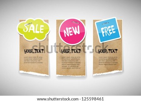 Vector old used stained torn paper banners with colorful glossy glazed paper notes attached with staples - sale, new, free - stock vector