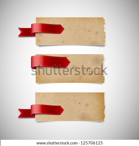 Vector old used stained torn paper banners with ribbon tags - stock vector