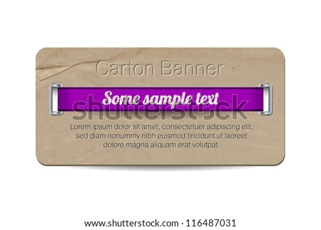Vector old vintage paper / cardboard banner with two metallic decorated perforations and purple ribbon - stock vector