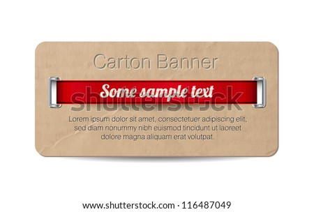 Vector old vintage paper / cardboard banner with two metallic decorated perforations and red ribbon - stock vector