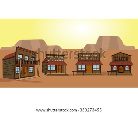 Vector Old West frontier town in the desert, including sheriff's office, saloon, dry goods store and hotel - stock vector