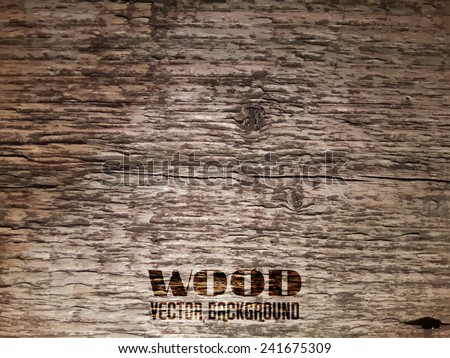 Vector Old Wood Realistic Texture, Dark Wooden Background for Your Design - stock vector