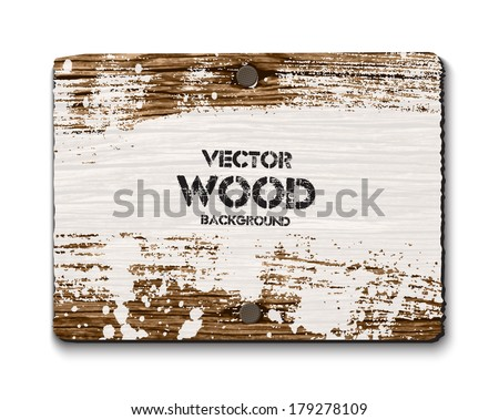 Vector old wooden rectangular sign with two nails and grungy white paint - stock vector
