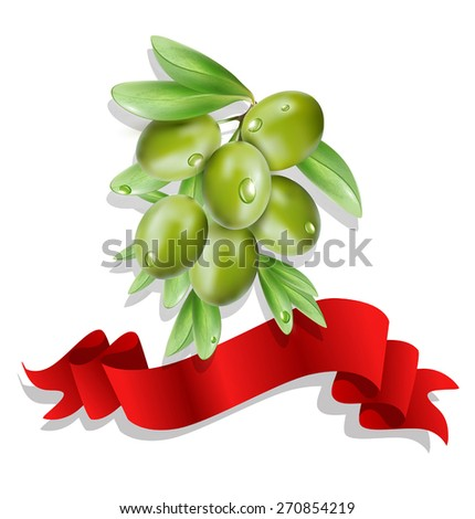 vector olive branch with red ribbon on white background ( isolated) - stock vector