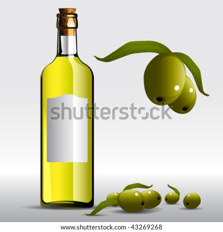 Vector Olive oil Bottle. Graphic Design Editable For Your Design.  - stock vector
