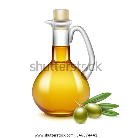Vector Olive Oil Glass Jug Pitcher Jar Bottle with Olives Branches on Leaves Isolated on White Background