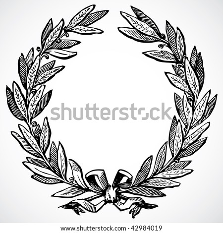 Vector Olive Wreath - stock vector