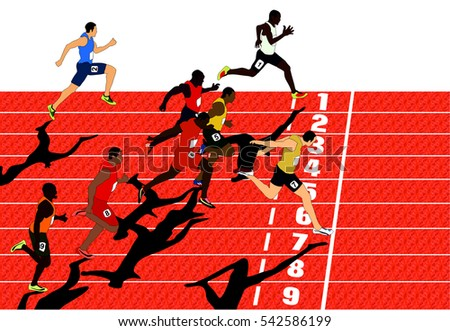 Vector Olympics Competition Athletes Run Race with track number end line winner crossing it by his foot sportsman body position while competing in sport game who will get gold silver bronze medal