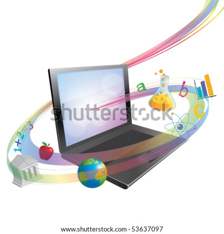 Vector On-line learning or schooling concept - stock vector
