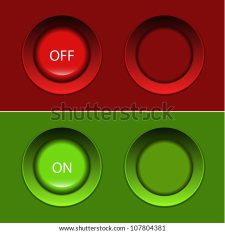 Vector on/off buttons (pushed) - stock vector