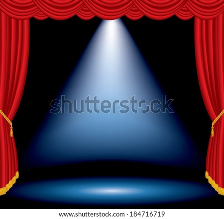 vector one big blue spotlight on stage with red curtain - stock vector