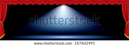 vector one blue spot on red wide stage  - stock vector