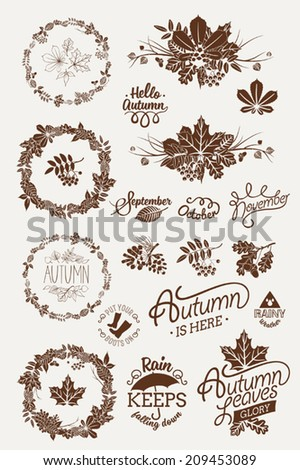 Vector one color autumn (fall) design elements and silhouettes featuring decorative floral round frames, dingbats, spacers, signs, badges, titles, month names, lettering and calligraphy pieces - stock vector