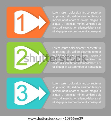 Vector One, Two, Three progress labels with arrows - stock vector