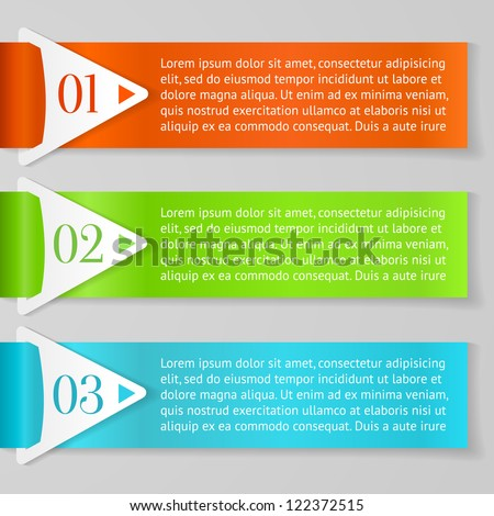Vector One, Two, Three progress labels with arrows on gray background - stock vector