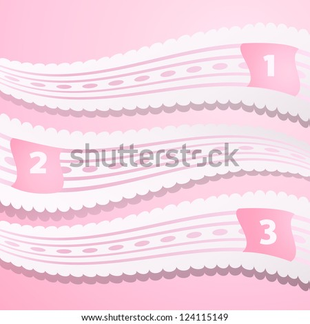 Vector One, Two, Three progress labels with lace holiday ribbon on pink background; realistic cut, takes the background color. Vector illustration for your business presentation.