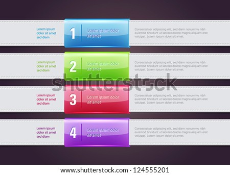 Vector One Two Three steps banners with glossy colorful tags - stock vector