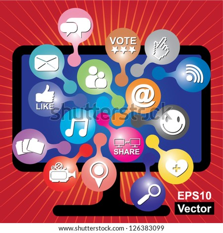 Vector : Online and Internet Social Network or Social Media Concept Present By Computer LCD or LED Monitor With Group of Colorful Social Media or Social Network Icon in Red Shiny Background - stock vector