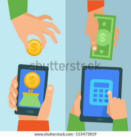 Vector online banking concept - pay and receive money using mobile phone - stock vector