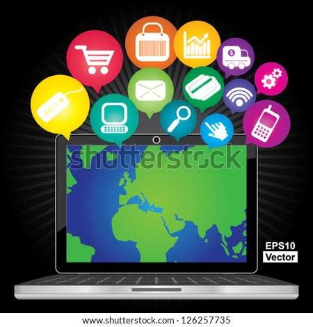 Vector : Online Business and E-Commerce Concept Present By Computer Laptop With World Map in Screen and Group of Colorful E-Commerce Icon Above in Dark Background - stock vector