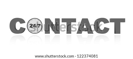 vector online contact time concept - stock vector