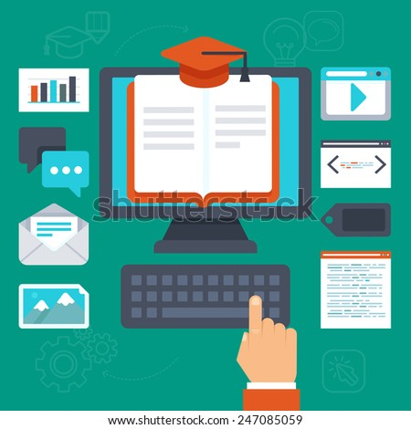 Vector online education concept - illustration in flat style  - stock vector