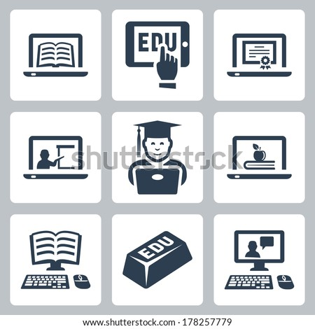Vector online education icons set - stock vector