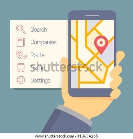 Vector online navigator concept in flat style, hand holding mobile phone with map and pointer on the screen, options icons on the side - stock vector