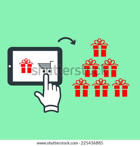 Vector online shopping and e-commerce on tablet buying christmass gifts with one finger gesture | flat design pictograms isolated on green background - stock vector