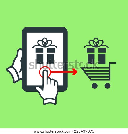 Vector online shopping and ecommerceon tablet with one finger swipe gesture moving gift to shopping cart | flat design pictogram isolated on green background - stock vector