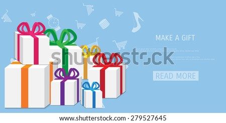 Vector online shopping gifts concept illustration. Web shop. Internet store. E-commerce and internet banking.