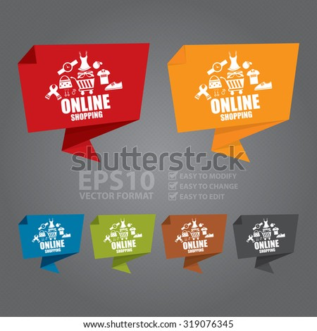 Vector : Online Shopping Paper Origami Speech Bubble or Speech Balloon Infographics Sticker, Label, Sign or Icon - stock vector