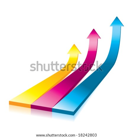 Vector Onwards & Upwards Arrows - 3D Glossy Icon - stock vector