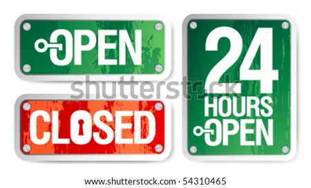 Vector Open and Closed Signs - stock vector