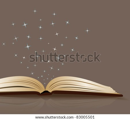 vector open book on a brown background