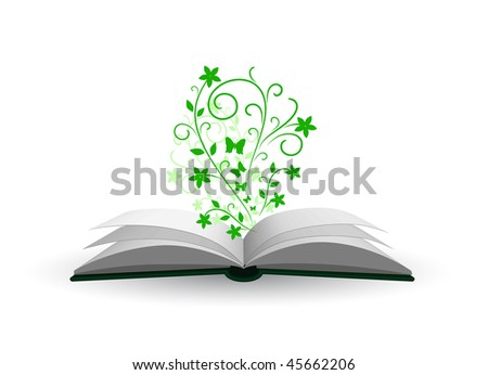 vector open book with plant