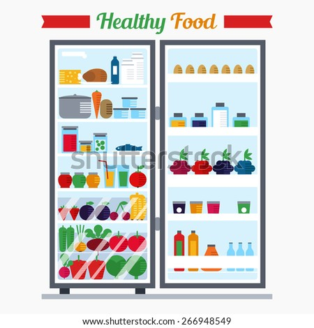 Vector open fridge full of healthy fresh food. Natural vegetables and fruit in flat style. Diet or lifestyle illustration. Daily meal, organic ration  - stock vector