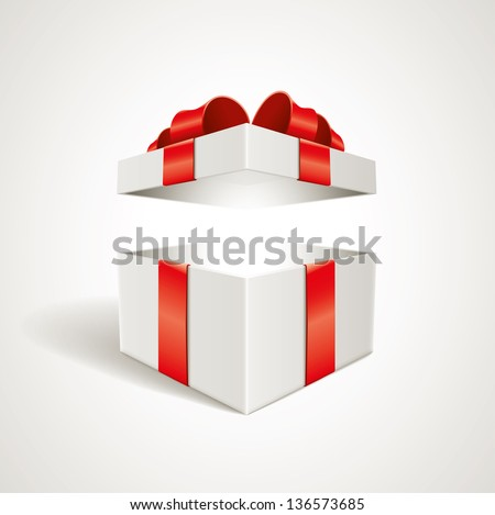 Vector open gift box illustration. Elements are layered separately in vector file. - stock vector