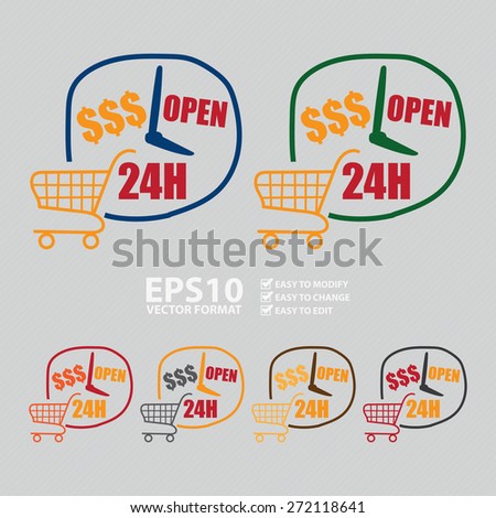 Vector : Open 24H Label, Sign or Icon for E-Commerce Business Concept  - stock vector