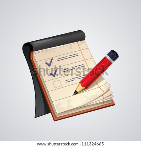 Vector open notepad with red pencil  icon - stock vector