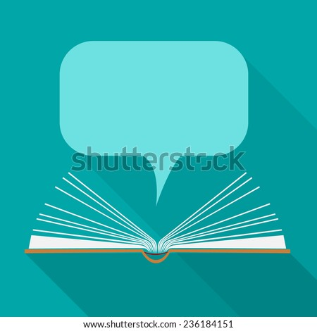 Vector open paper book with speech clouds in flat design style - stock vector