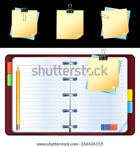 Vector open personal organizer - stock vector
