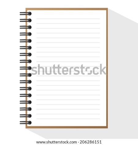 Vector open Spiral Brown note book wit line