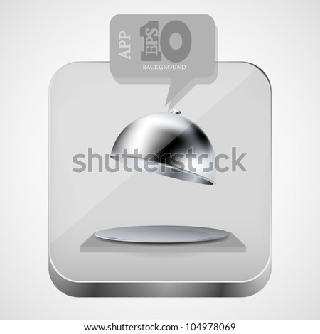 Vector open tray app icon with gray bubble speech. Eps10 - stock vector