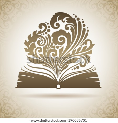 Vector opened magic book with ornamental patterns - stock vector