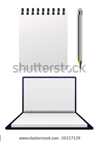 vector opened notepad with pencil - stock vector