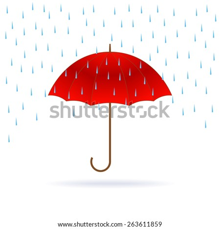 Vector opened red umbrella and rain on white background. - stock vector