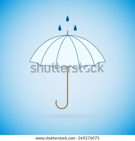Vector opened umbrella and rain on blue background. - stock vector