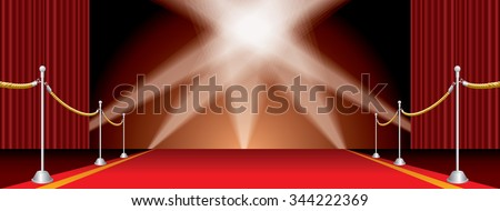 vector opened wide stage with red carpet and five spotlights - stock vector