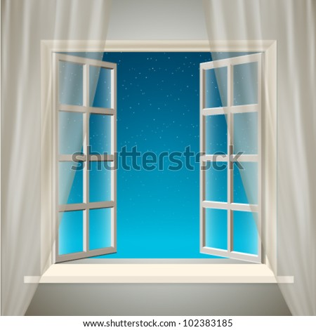 Vector Opening Window with Sky and Stars - stock vector